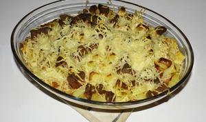 Gratin de pommes de terre au cervelas et au camembert