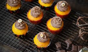 Cupcakes au potimarron, ganache montée chocolat et pâte à tartiner aux noisettes