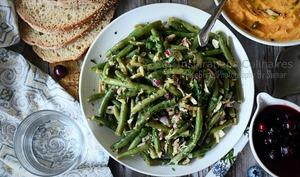 Salade de haricots verts, oignons rouges et thon