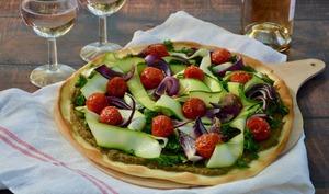 Pizza aux légumes et crème d'aubergine