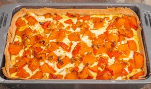 Tarte salée au potimarron, jambon et fêta
