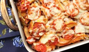 Gratin aux coings, viande hachée et patate douce