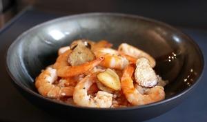 Risotto aux crevettes et petits cèpes.
