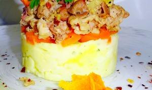 Andouillette Grillée sur un lit d'écrasé de pommes de terre et de carottes