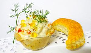 Crème de maquereaux à l'huile d'olive accompagnée de fleurons