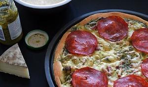 Pizza au pesto et Saint Nectaire