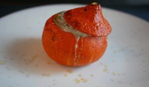 Potimarron aux cèpes. Crème de champignons.