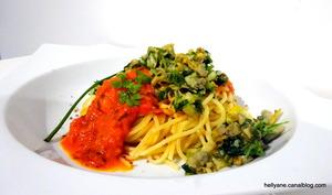 Spaghetti au confit 3 légumes avec des coques à la persillade