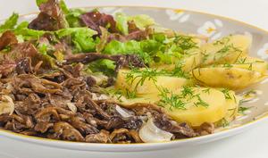 Sauce aux girolles et pommes de terre