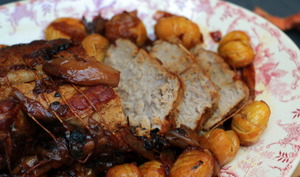 Rôti de veau aux marrons et échalotes
