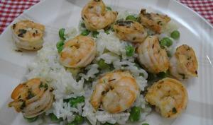 Crevettes marinées et risotto aux petits-pois et mozzarella
