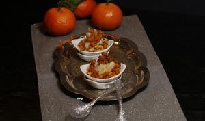 St-Jacques rôties brunoise carotte endive et crème de corail à la mandarine