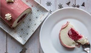 Bûche de Noël chocolat blanc framboises