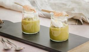 Crème de petits pois, ricotta et langoustines