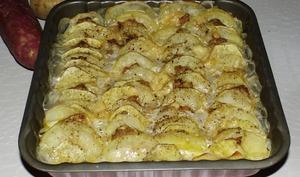 Tian de pommes de terre, de patates douces et de foie gras