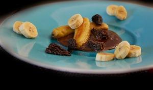 Bananes rôties aux morilles.