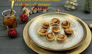 Mini tartelettes au boudin blanc et chutney de mangue