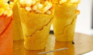 Assortiment de cônes aux perles de blé et filets de merlu