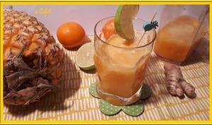 Jus détox d'Ananas, agrumes et gingembre
