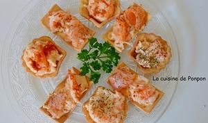Amuse bouche au saumon fumé et crevettes
