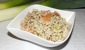 Quinoa et boulgour au poireau, roquefort et saumon fumée