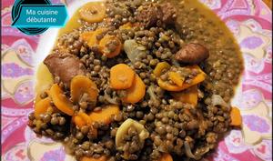 Lentilles carottes et ses saucisses avec CookEasy