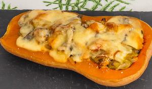 Courge butternut farcie aux poireaux