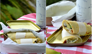 Wraps au poulet, fruits secs et citron confit au sel
