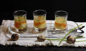 Verrines d'oeufs de caille en gelée