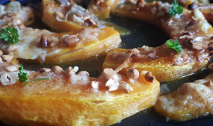 Potiron gratiné, cacahuètes et parmesan