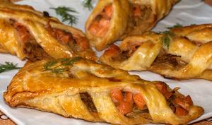 Jalousies au saumon gravlax sur confit de fenouil