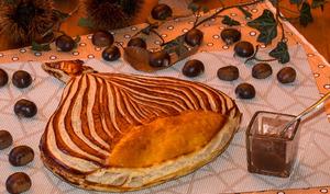 Marron feuilleté et sa crème de marrons aux amandes