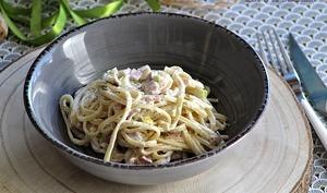 Spaghettis aux poireaux et ricotta