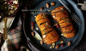Courge Butternut rotie au four facon Hasselback