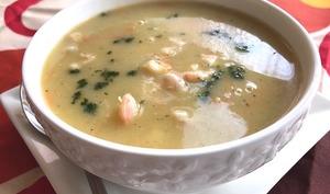 soupe aux poireaux et aux crevettes