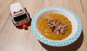 Petit pot de pois cassé, carotte et canard
