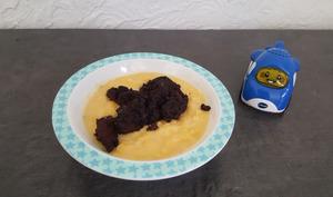 Petit pot de boudin noir sur purée de butternut au lait de coco