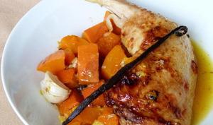 Cuisse de poulet à l'orange, miel, vanille et potimarron