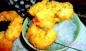 Tempura beignet de crevette/gambas pané avec des vermicelles de soja