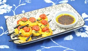 Brochettes crevettes et tomates cerises