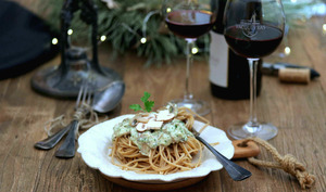 Spaghetti au blé complet, sauce crémeuse au champignons