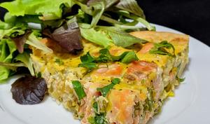 Tarte aux poireaux et saumon frais