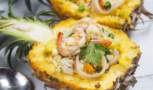 Ananas riz frit crevettes