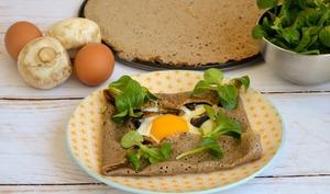 Galette fromage, œuf et champignons