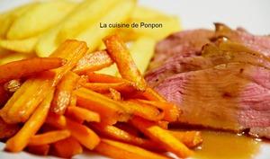 Magret de canard cuit à basse température, sauce grand veneur