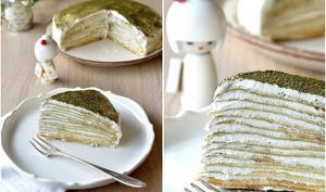 Gâteau de crêpes citron-thé matcha