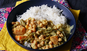 Curry pois chiche haricots verts patate douce