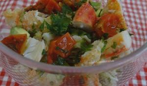 Coupes de crabe à l'avocat et tomates séchées