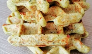 Gaufres au brocoli, jambon et mozzarella