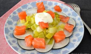 Salade de poireaux et radis noir au saumon gravlax
